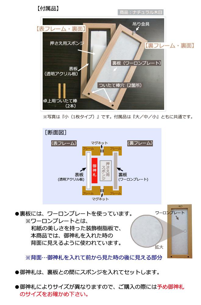 モダン御神札額 各サイズ共通(付属品と断面図)