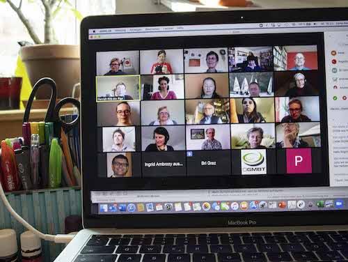 Bildschirmaufnahme einer digitalen TZI Veranstaltung via Zoom