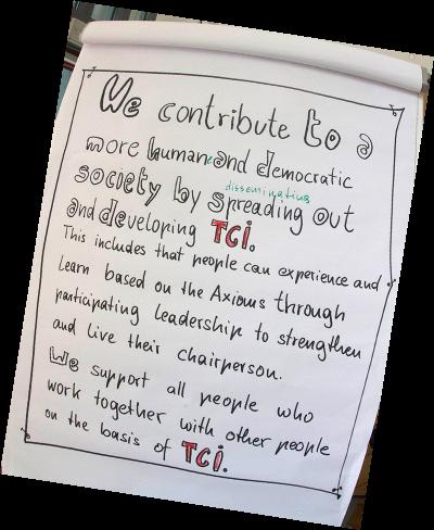 Ein Plakat mit dem Mission Statement des RCI International