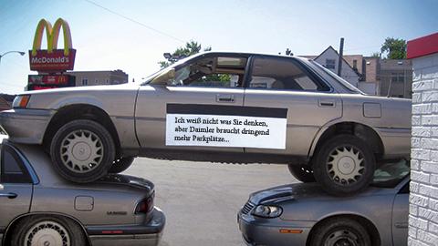 Ein etwas humoristischer Lösungsansatz zur Parkraumoptimierung – Einsparpotenzial immerhin 33 %.