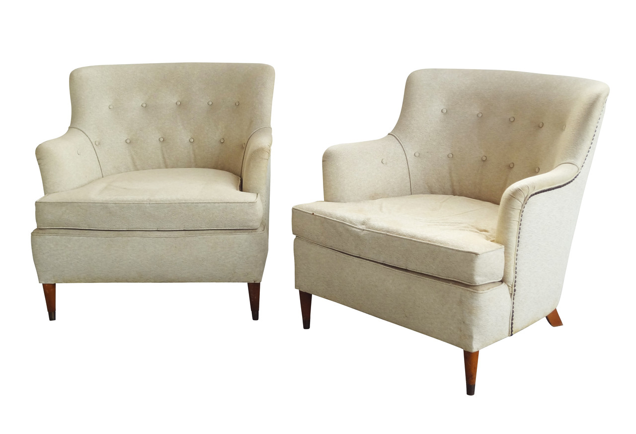 Tufted Midcentury Full Size Chairs pair Nueve Grand