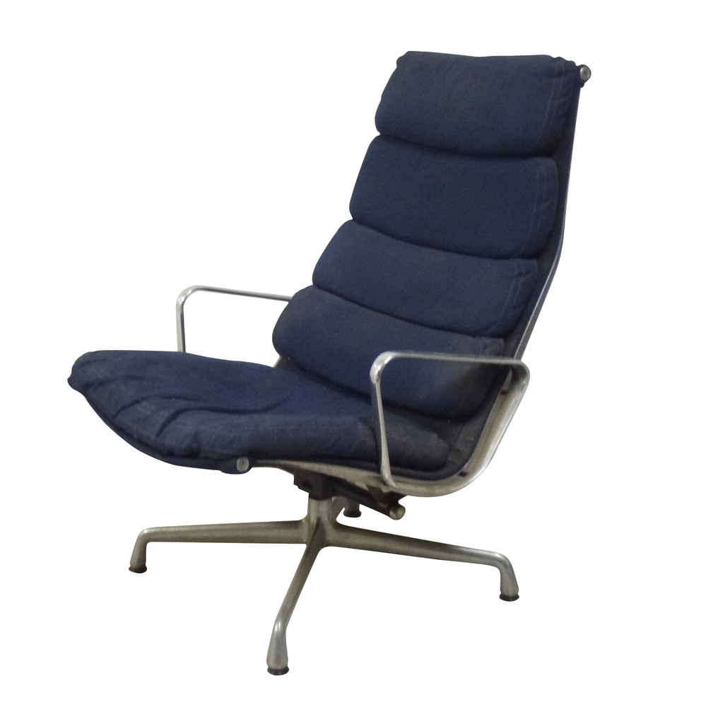 Eames Soft Pad Lounge Chair eames soft pad lounge chair in navy - nueve- grand rapids