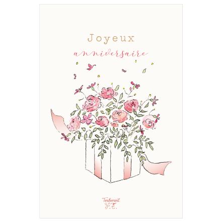 Carte Joyeux Anniversaire Cadeau fleuri - Tendrement Fé - Illustrations &  papeterie bohème