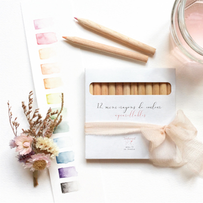 Tendrement Fé - illustration papeterie bohème set crayons de couleur aquarellables coloriage aquarelle diy enfant illustratrice