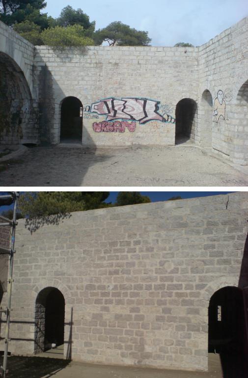 Nettoyage de graffitis sur pierre froide.