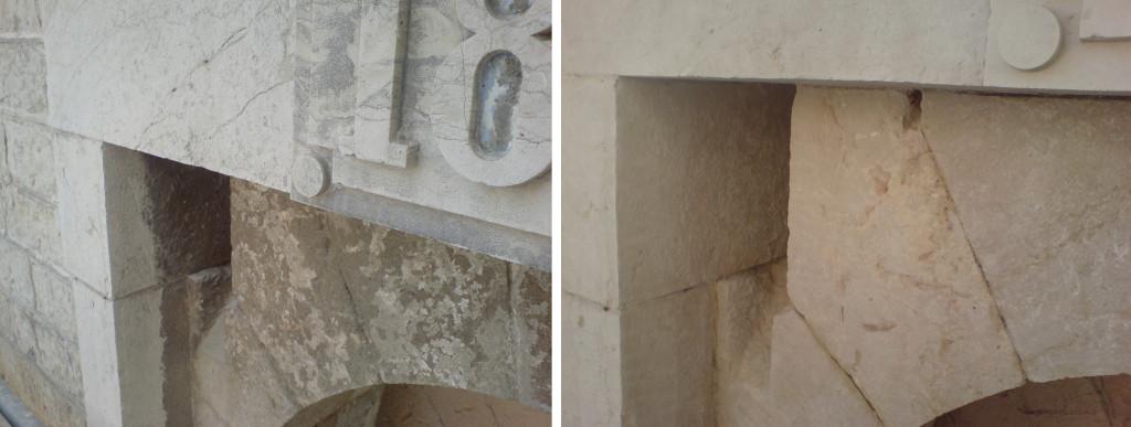 Nettoyage de noir de pollution sur monument en pierre