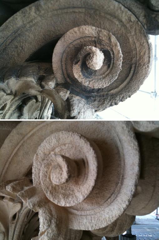 Nettoyage du noir de pollution sur sculpture