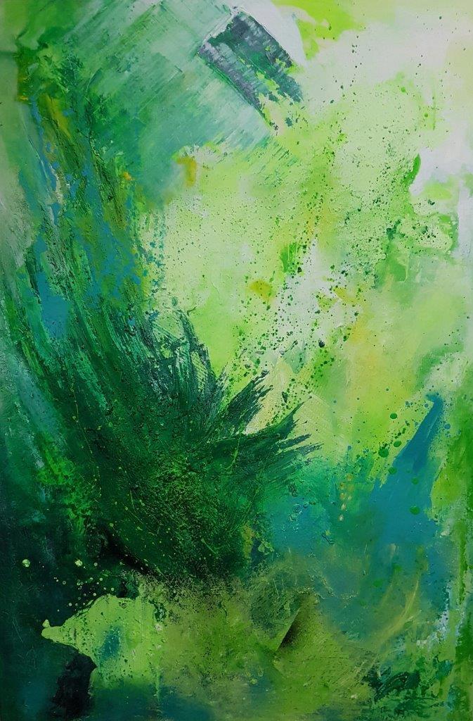 Grün, 1,20 m x 0,80 m, Acrylfarbe auf Leinwand