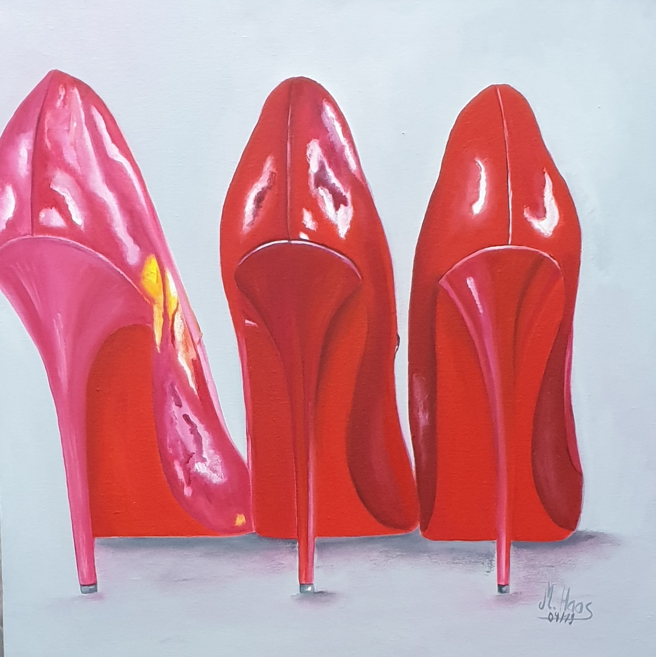 High-Heels-Oelmalerei-40x40cm-Marion-Haas-Pumps-pink-rot-
