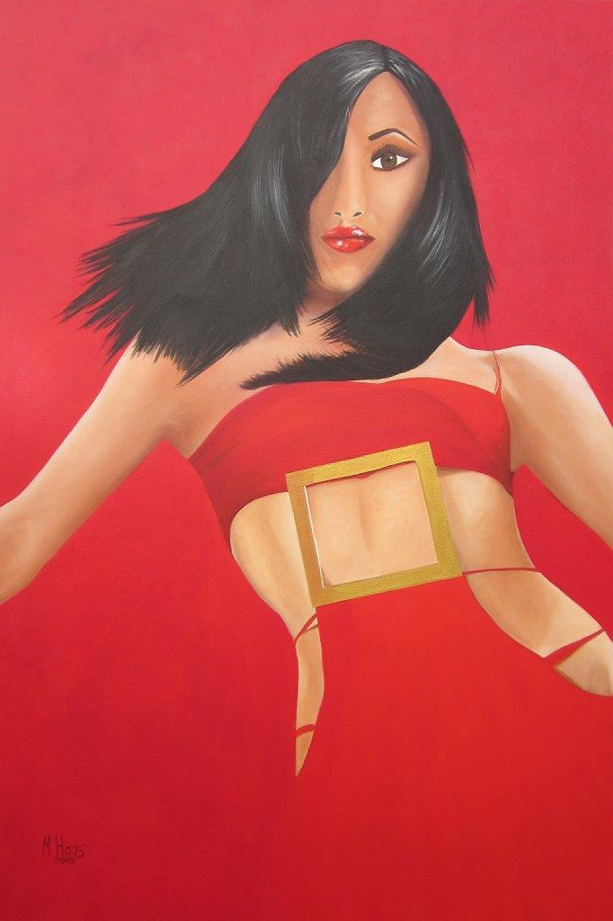 Frau in rot, 1,20 m x 0,80 m, Ölfarbe auf Leinwand