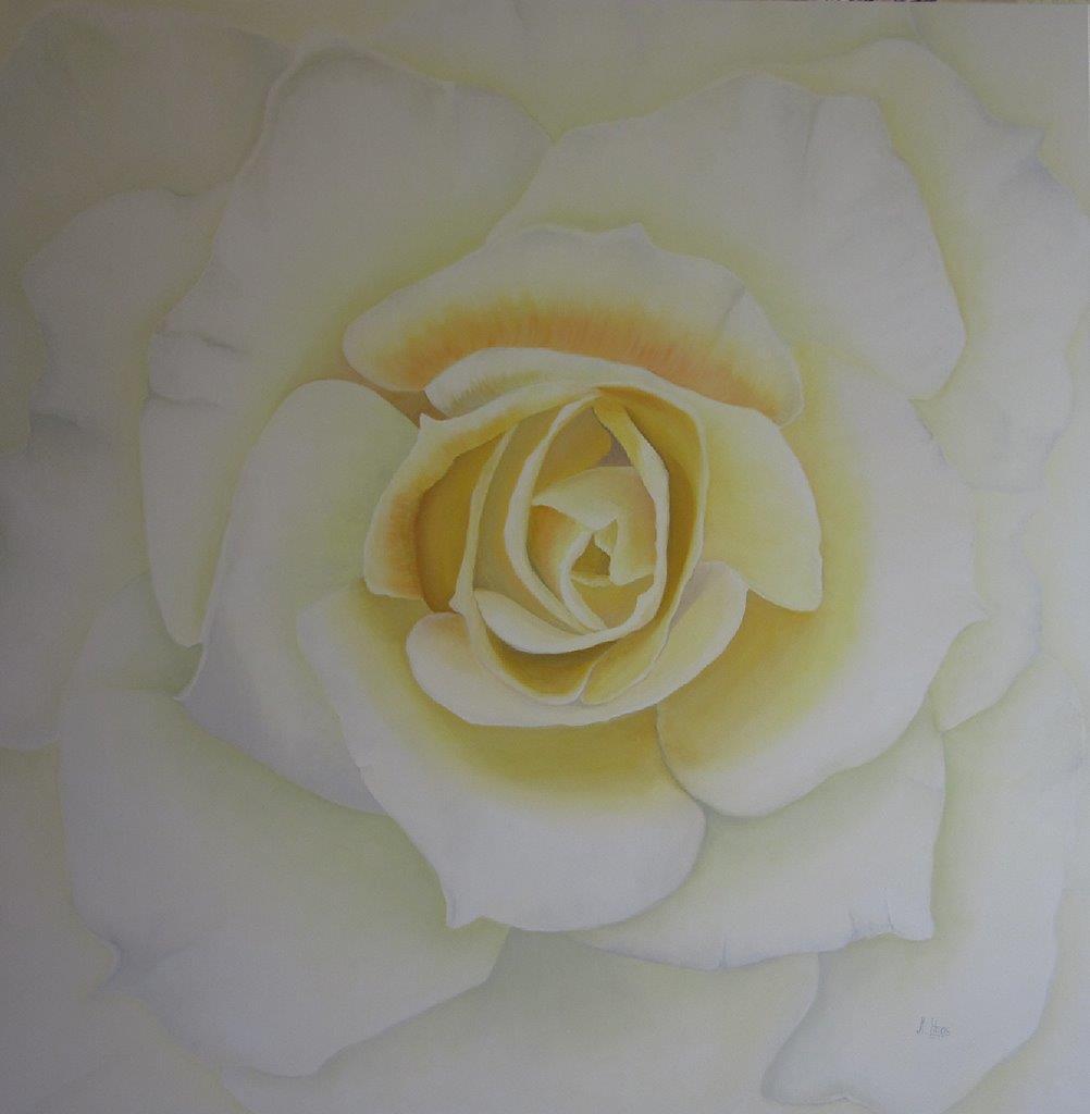 Rose gelb, 1,50 m x 1,50 m, Ölfarbe auf Leinwand