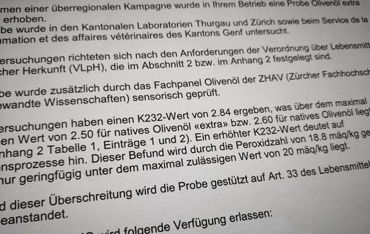 Das Ergebnis aus Zürich: K2332 von 2.84; PV von 18.8 meq
