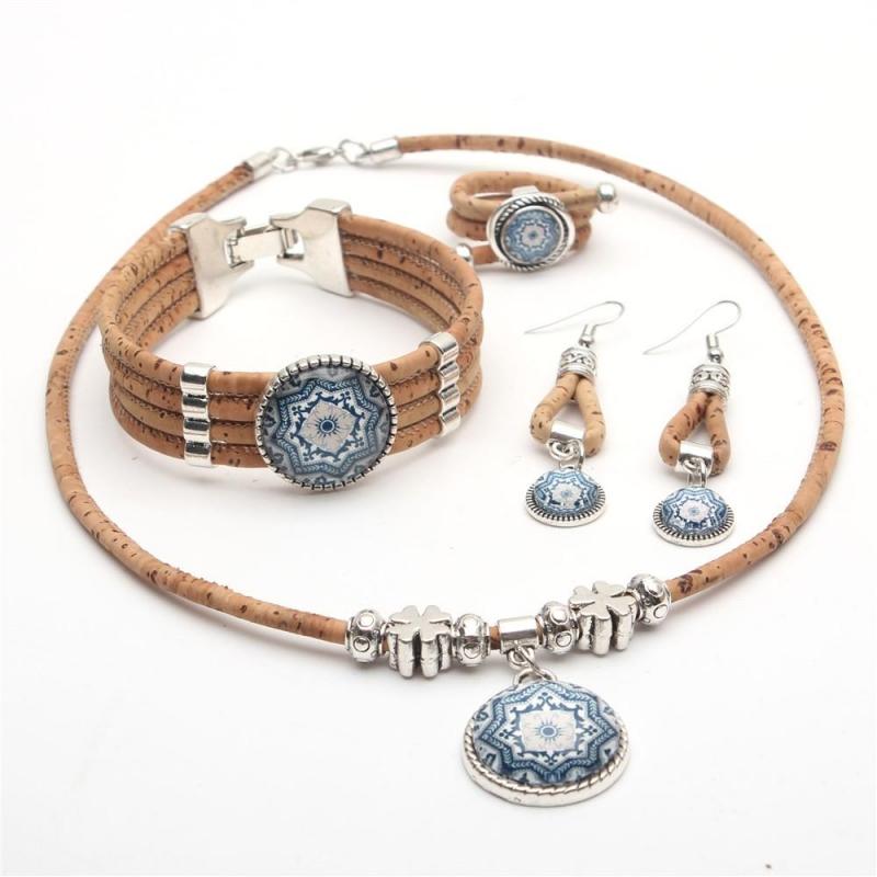 Set de bijoux en liège et céramique Poka fait main, 34,90 euros
