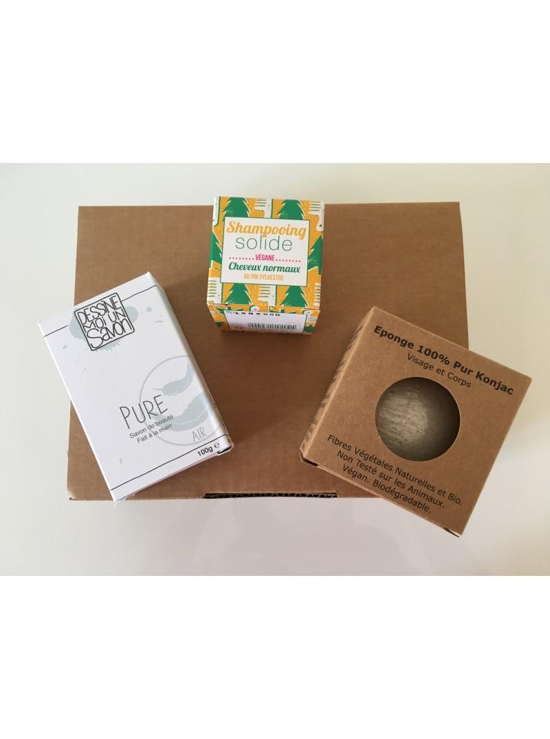 """Coffret Noël """"Je Deviens Ecolo!"""". Végan, Biodégradable et Zéro Déchet. 1 savon, 1 shampoing solide, 1 Eponge de Konjac 22,50 €"""