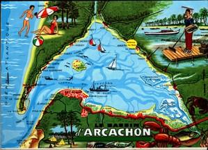 Bassin d'Arcachon (rond jaune = Andernos)