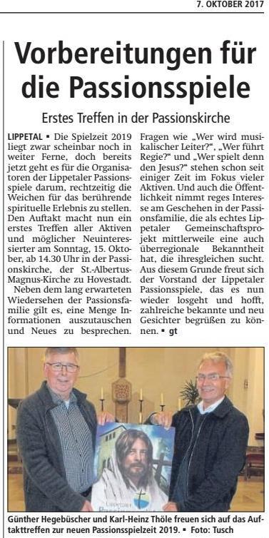 Bericht Soester Anzeiger vom 07.10.2017