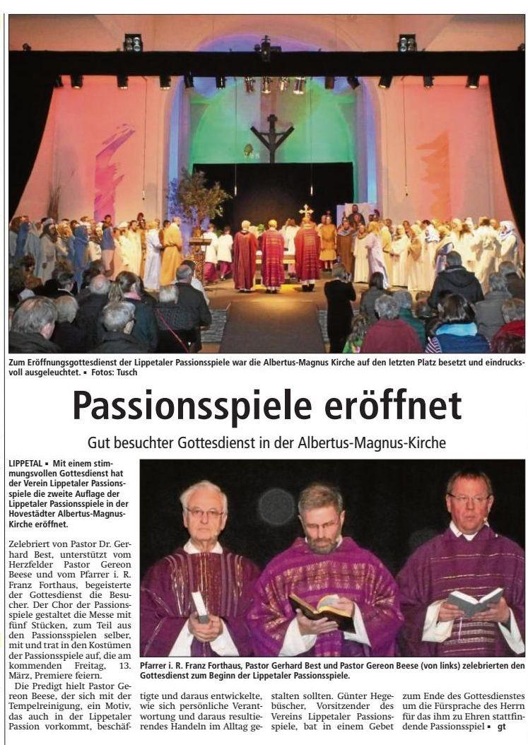 Soester Anzeiger - Bericht vom 9. März 2015