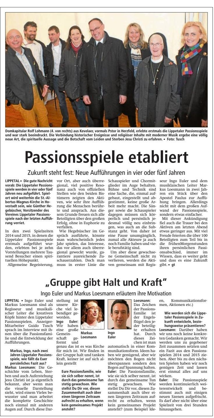 Bericht Soester Anzeiger vom 04.04.2015