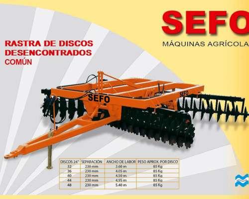SEFO- RASTRA DE DISCOS DESENCONTRADOS COMUN DOBLE ACCION DE 32 A 48 DISCOS