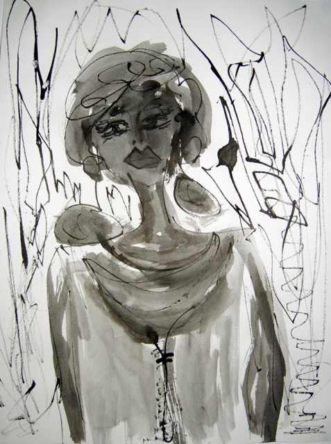 Madame, 2013. Sumi Ink on paper,  22,5x30cm. (AVAILABLE) CARINA SCHUBERT