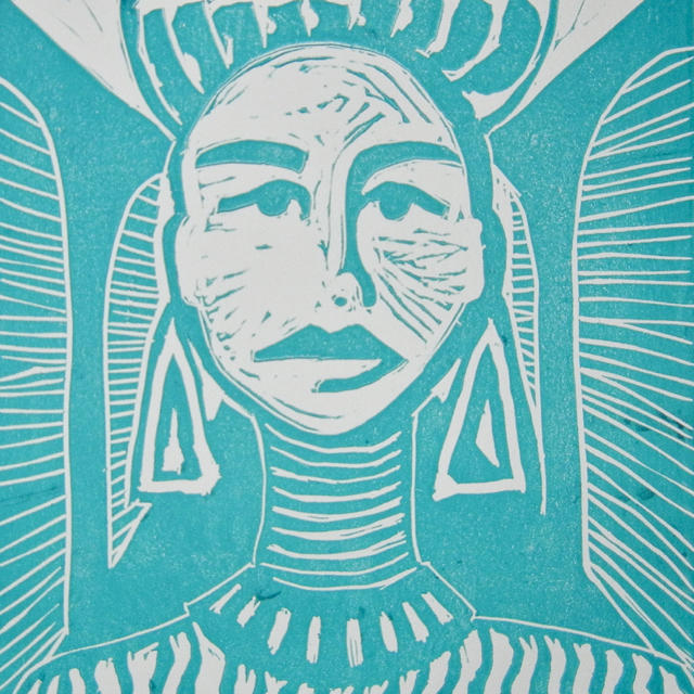 Search/turquoise, 2013. Linoleum print on paper, 25,5x25,5cm. (AVAILABLE) CARINA SCHUBERT