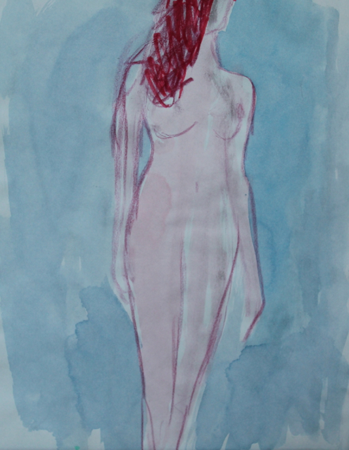 Statue, 2014. Mixed media on paper. (AVAILABLE) CARINA SCHUBERT