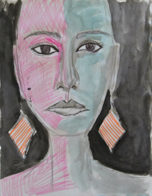 Half here, 2013. Mixed media on paper, 22,5x28,5cm. (AVAILABLE) CARINA SCHUBERT