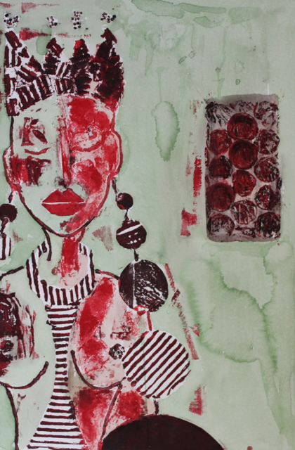Road-Weight 1, 2013. Collagraph and Acrylic ink on paper, 36x50cm. (AVAILABLE) CARINA SCHUBERT