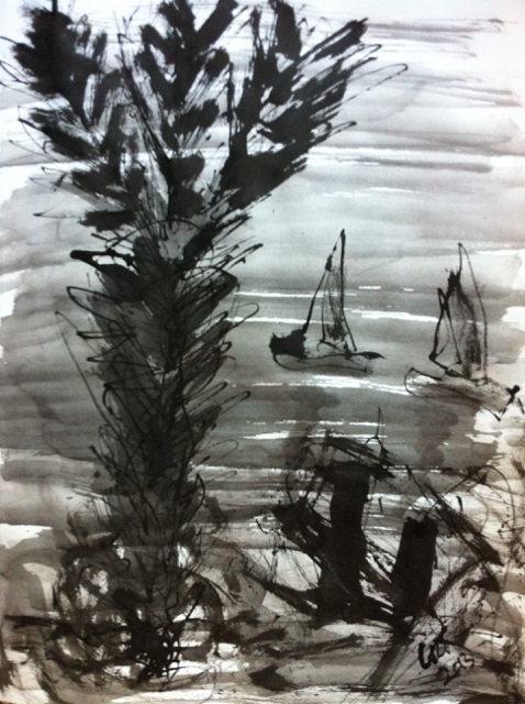 Lake Virginia, 2013. Sumi Ink on paper,  22,5x30cm. (AVAILABLE) CARINA SCHUBERT