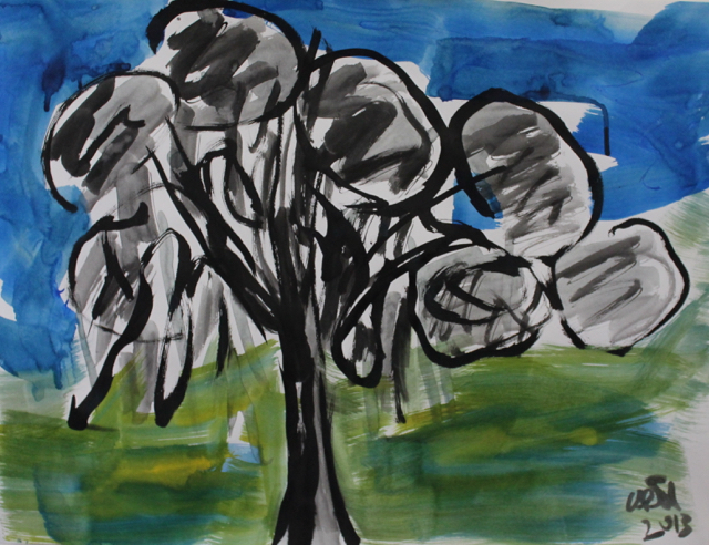 Hanging-Tree, 2013. Sumi Ink on paper, 61x45,5cm. (AVAILABLE) CARINA SCHUBERT