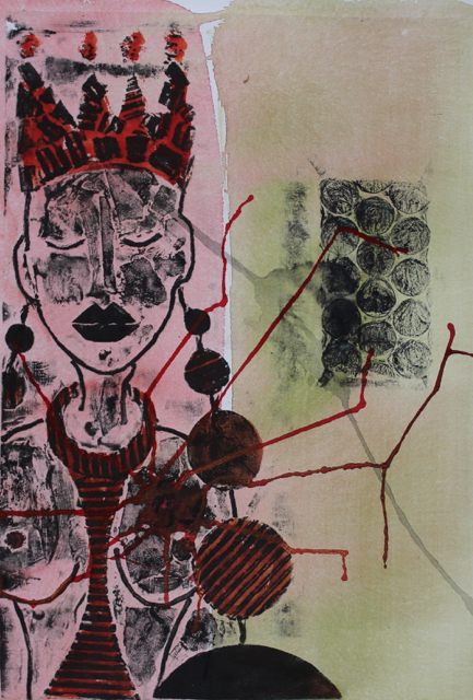 Road-Weight 3, 2013. Collagraph and Acrylic ink on paper, 36x50cm. (AVAILABLE) CARINA SCHUBERT