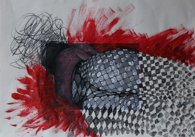 Caught in the net, 2014. Collage and mixed media on paper, 58x42cm. (AVAILABLE) CARINA SCHUBERT