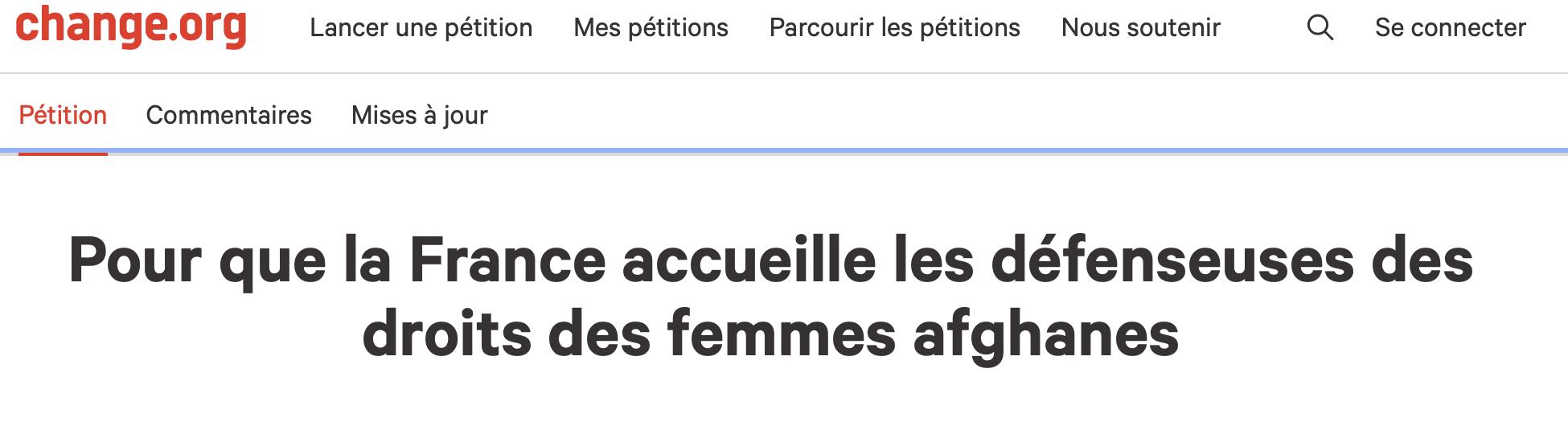 Pétition / Pour que la France accueille les défenseuses des droits des femmes afghanes