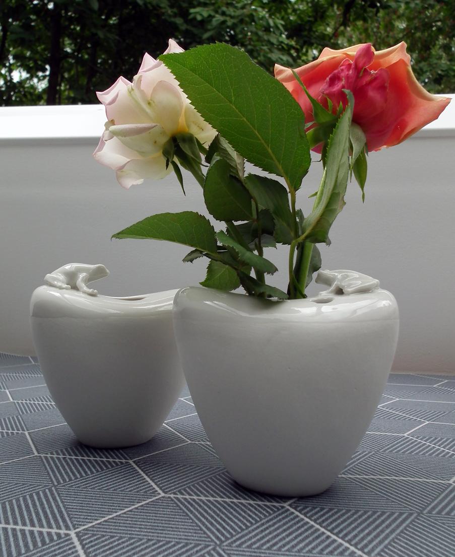 Vase Porzellan mit Frosch