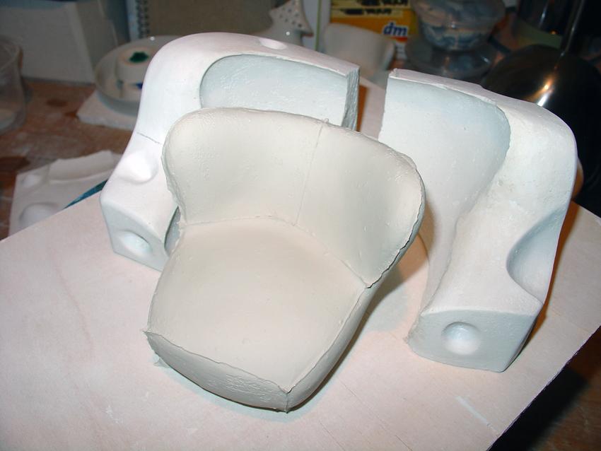 Sessel aus Porzellan, rohzustand