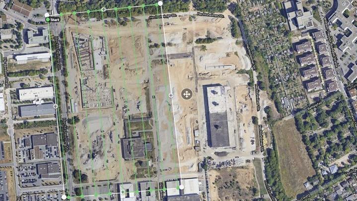 Einzeichnung des Fluggebietes (Baustelle nicht sichtbar)