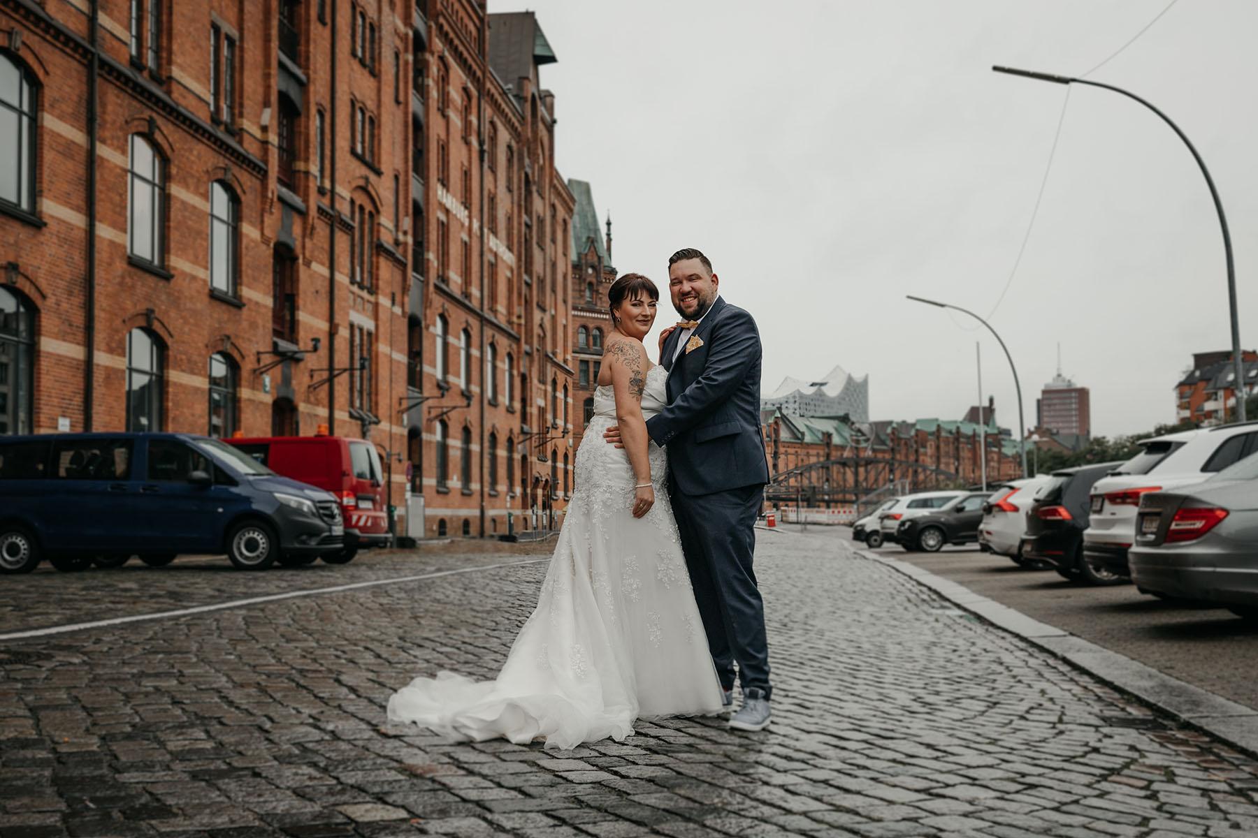 Brautpaar Foto in der Speicherstadt in Hamburg