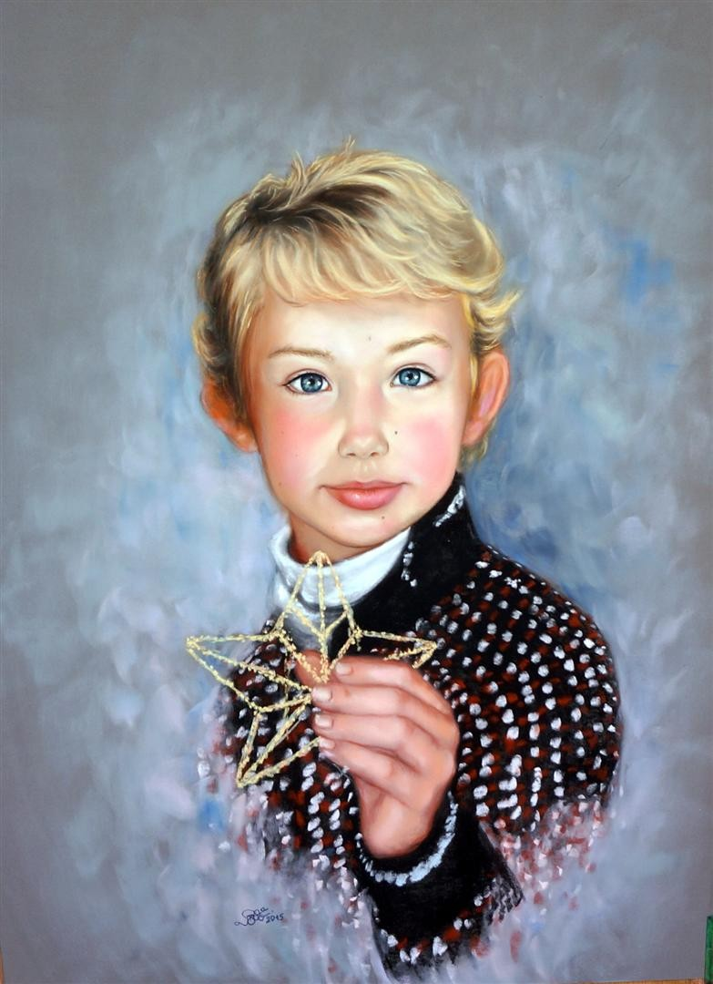 Portrait in pastel of a Boy