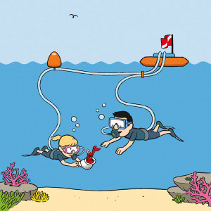 illustration of a girl scuba diving at 3m - 5m depth (step 3 of Snorkel Dive system), learning about marine life & buoyancy by breathing