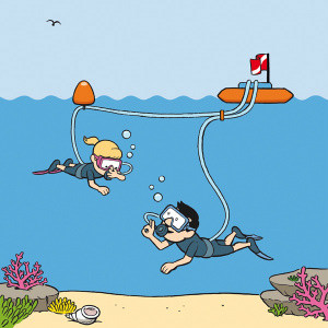 illustration of a girl scuba diving at 1m or 2m depth (step 2 of Snorkel Dive system), learning how to equalize her ears