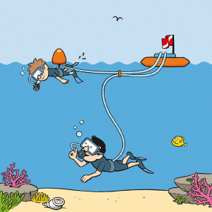 illustration of a boy scuba diving at the surface (step 1 of Snorkel dive system), learning general comfort & familiarity with a SCUBA regulator & water.