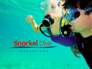 Child SCUBA diving for the first time with his father using Snorkel Dive system; picture with logo