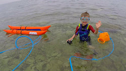 Preschooler at the surface ready to try STEPDive and learn the first steps of SCUBA diving