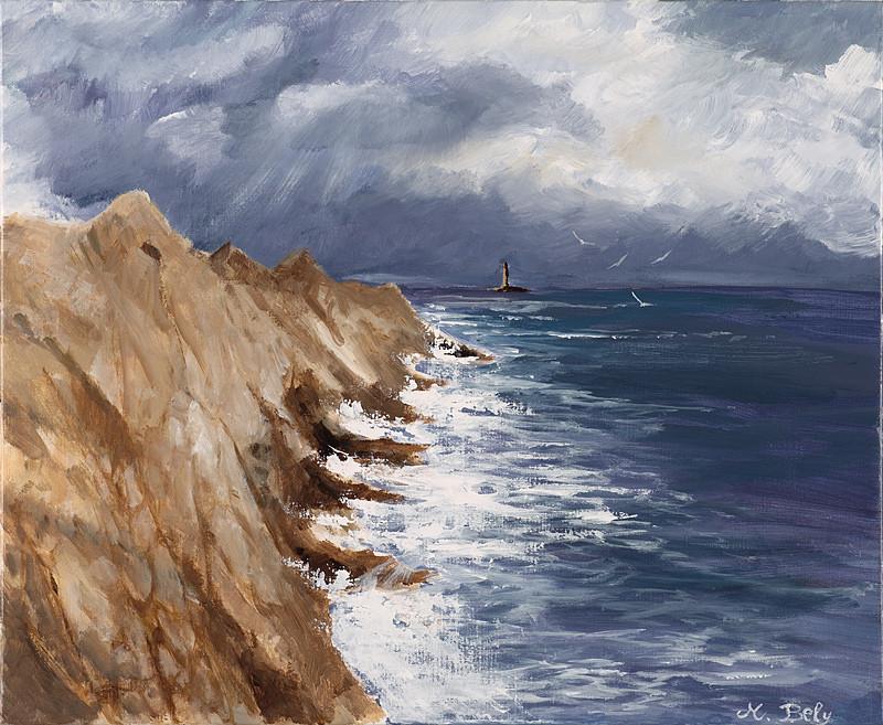 """""""Pointe du raz"""" 50x61 Acrylique sur toile de lin 2011"""