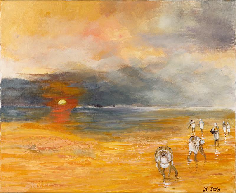 """""""Ramasse coquille"""" 50x61 Acrylique sur toile de lin 2011 - Collection privée"""