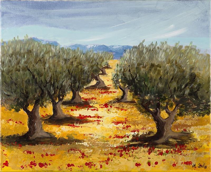 """""""Les oliviers"""" 50x61 Acrylique sur toile de lin 2010"""