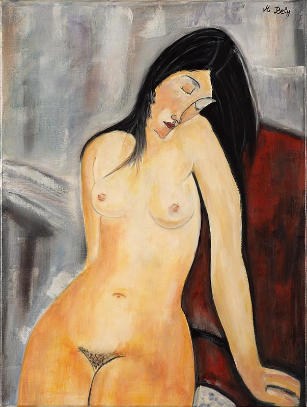 """""""Nu à la manière de M..."""" 61x46 Huile sur toile de lin 2014 - Collection privée"""