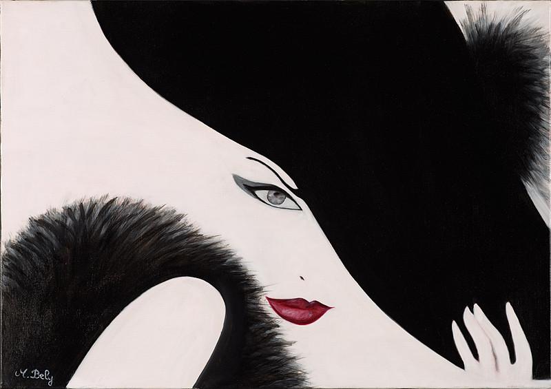 """""""Fatale"""" (noire) 46x65 Huile sur toile de lin 2014"""