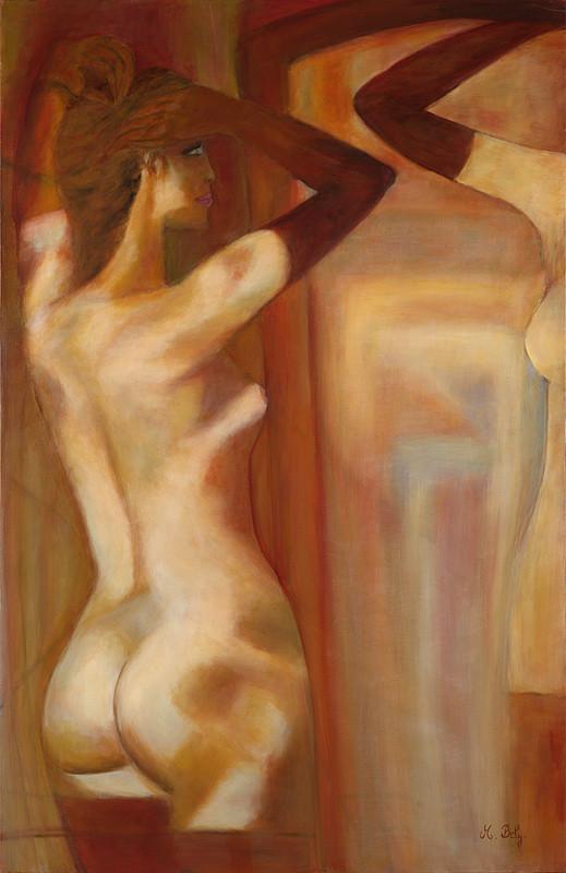 """""""Nu au miroir"""" 100x65 Huile sur toile de lin 2014 - Collection privée"""