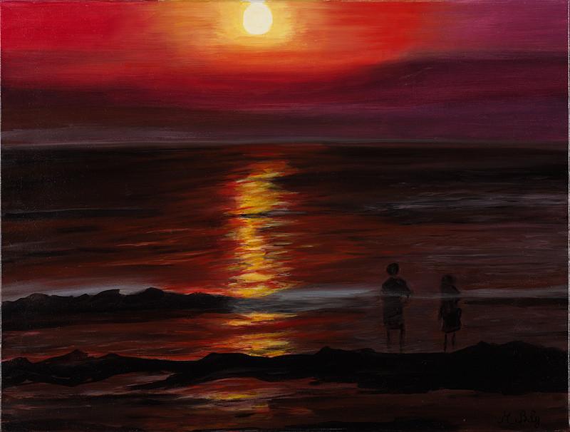 """""""Soleil couchant"""" 46x61 Huile sur toile de lin 2012"""